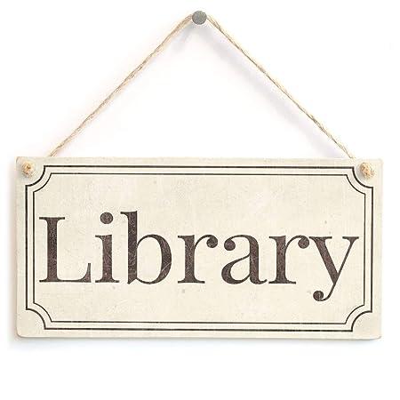 Cheyan Placa de Madera para Biblioteca, Elegante Estilo ...