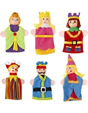 FITYLE Wooden Head Finger Puppets Toys 6Pcs Fairytale Royal King & Queen Theme Set