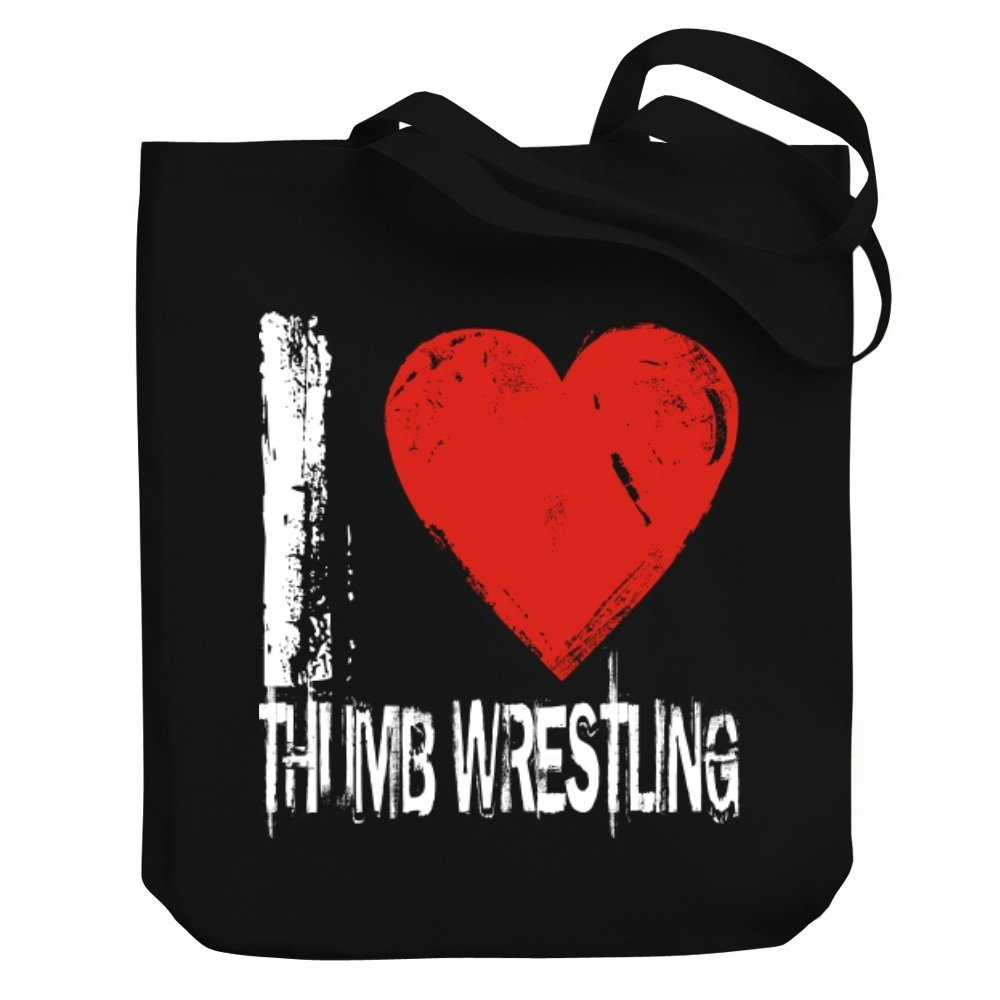 Teeburon I LOVE Thumb Wrestling Canvas Tote Bag