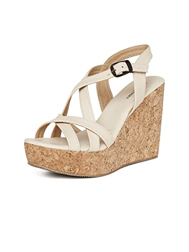 74a013e20a5ff MarcLoire Fashionable & Stylish Casual Wedges Heels Sandal for Women - 4  Inch Heels, Synthetic, Cream