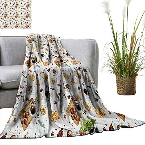 PrimoMol Couch Blanket Modern,Lunch Table with Croissant Bagels Coffee Cheese Chocolate Watercolor Artwork,Sand Brown White Warm & Hypoallergenic Washable Couch/Bed Throws Microfiber 50
