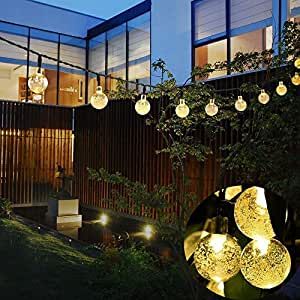 Outdoor Solar Sting Lights Easest Waterproof 30 LED Decorative Lights String Solar Powered Fairy Led Twinkle Light for Tree Patio Garden Party Holiday Outdoor Decorations 2 Lighting Modes (Warm White)