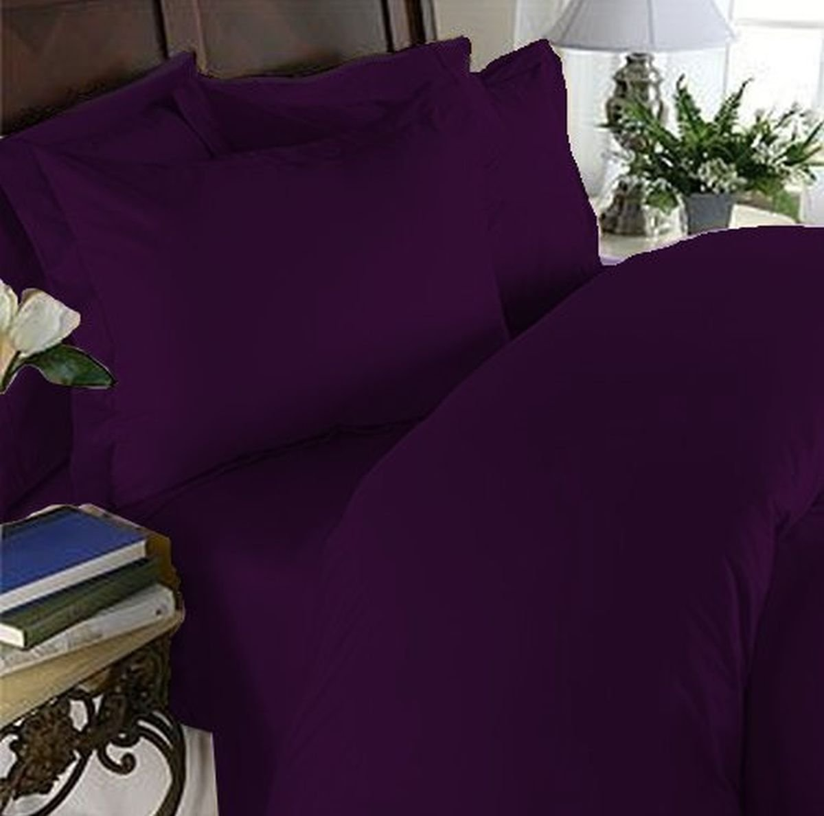 Elegant Comfort 4 Piece 1500 Thread Count Luxury Silky Soft Egyptian Quality Coziest Sheet Set, Queen, Eggplant-Plum