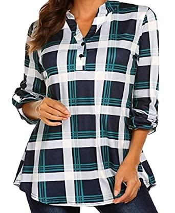 64996374c9 pipigo Womens Basic Checked V Neck Roll Sleeve Buttons Shirt Top Blouse at  Amazon Women's Clothing store: