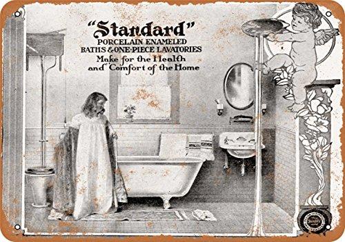 Wall-Color 7 x 10 METAL SIGN - 1905 Standard Porcelain Bathroom Fixtures - Vintage Look Reproduction
