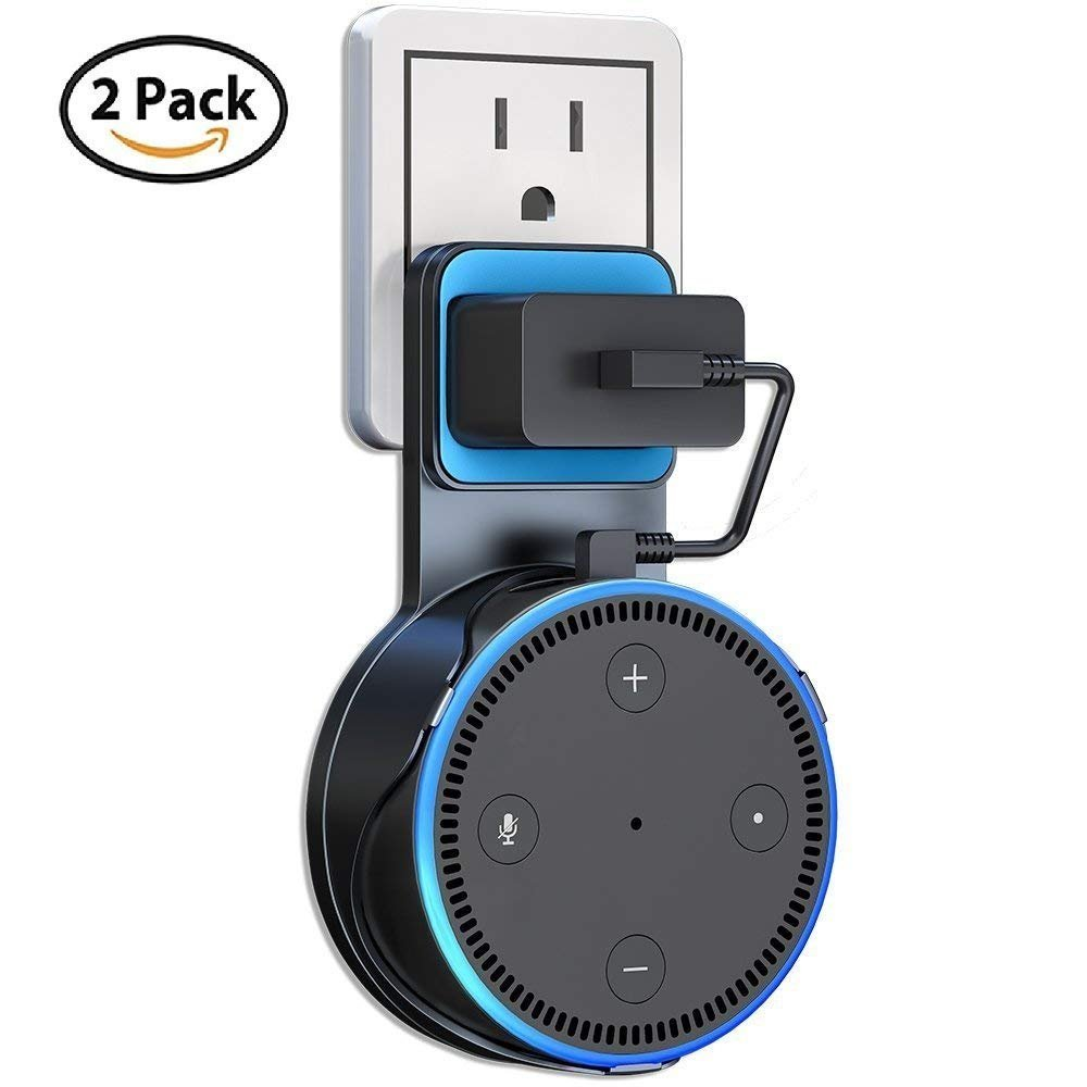 CharmRoc Echo Dot Wall Mount Smart Home Speakers for Amazon Echo Dot 2nd Generation Plug in Kitchens, Bathroom And Bedroom (Black-2pack)