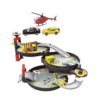HXGL-juguete de coche Juguetes para niños de carros de ferrocarril Montados Combinación Coche de Carreras Modelo Car Boy Regalo (Color : Three-Storey Car ...