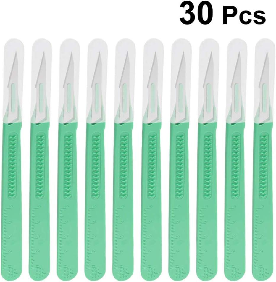 ULTECHNOVO 30-Teiliges Chirurgisches Einweg-Plastikskalpell Einweg-Schnitzwerkzeuge Multifunktions-Scrapbooking-Handwerks-Schnitzmesserwerkzeuge Ss-1