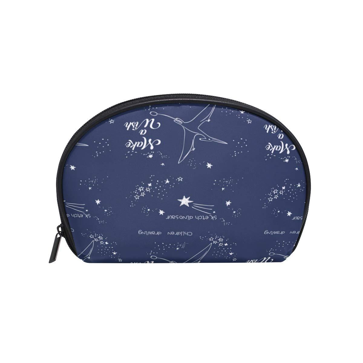 a47bf31abd34 Amazon.com : Half Moon Cosmetic Makeup Bag Magic Dinosaur ...