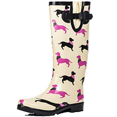 Spylovebuy Knee High Flat Welly Rain Boots Cream Rubber Sz 6 ade91e730