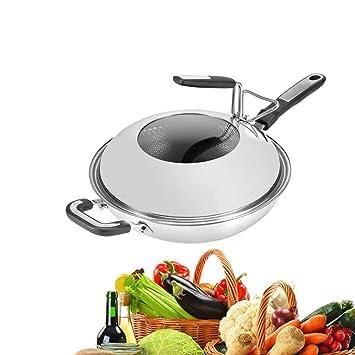 MAIFENGLE Sartén Sartenes Antiadherentes Induccion,Sartén de 32 cm para Todo Tipo de cocinas Incluido 304 Acero Inoxidable, Plata, con Tapa, ...