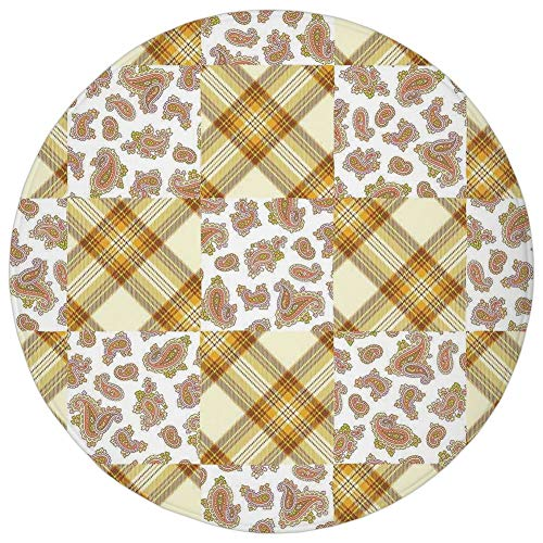 Round Rug Mat Carpet,Farmhouse Decor,Image of Patch and Deceit Lines and Paisley Motifs Nostalgic Stripes,Yellow Brown,Flannel Microfiber Non-Slip Soft Absorbent,for Kitchen Floor Bathroom]()