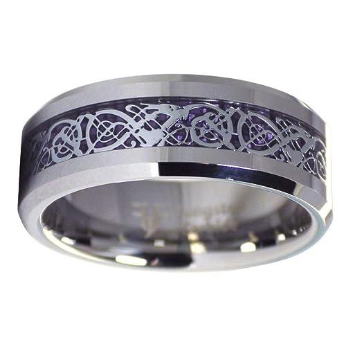 Tungsteno 8 mm plata tono Viking dragón Celta nudo anillo morado de fibra de carbono boda banda tamaño 6 - 17: Amazon.es: Joyería