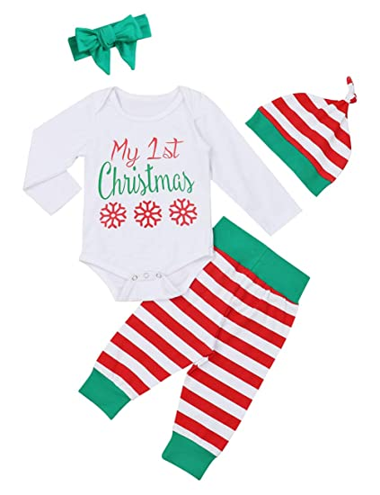0700fe7bd108c Xmas Onesies Baby Infant Christmas Set Cotton Set of 4 Pieces Long Sleeve  Christmas Printed Jumpsuit