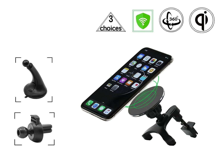 ワイヤレス車の充電器、ワイヤレス充電for iPhone X iPhone 8 /8 Plus、SAMSUNG GALAXY NOTE 8 /S 8 /S 8 +/S 7 /S 6 Edge + Note 5とすべてのQiデバイス B07BT5DLTR