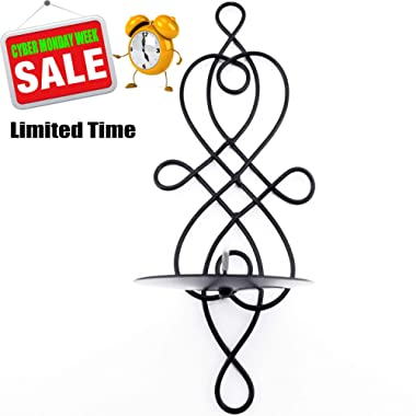 Home Candlestick Holder, Swirling Iron Hanging Wall Sconce Candle Holder Shelf, Decorative Metal Candelabra Tea Light Pillar Holder Modern Home Decor Scrollwork for Furnishing Articles Wedding Events