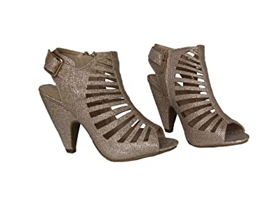 86be6541f0d Top Guy Pen-3 Womens Sequin Glitter Caged Cut Out Design Peep Toe Bootie  Heels