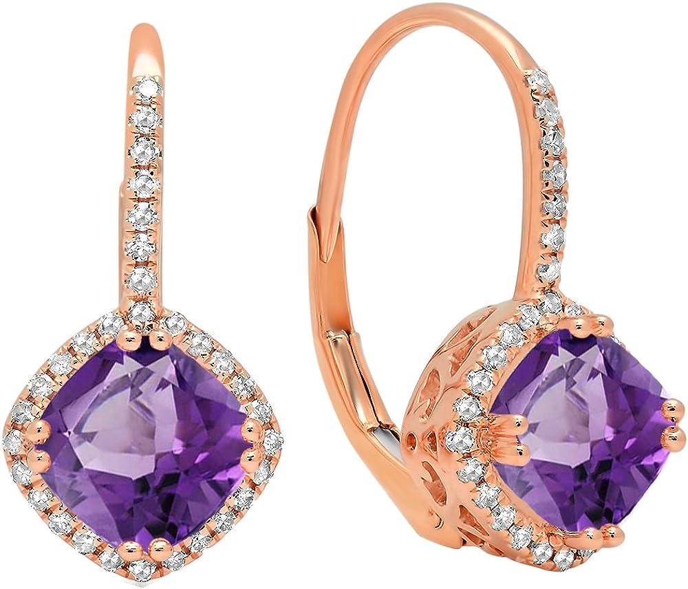 18K Rosa Oro 6mm cada cojín Gemstone y redondo blanco diamante, de Halo estilo pendientes de aro