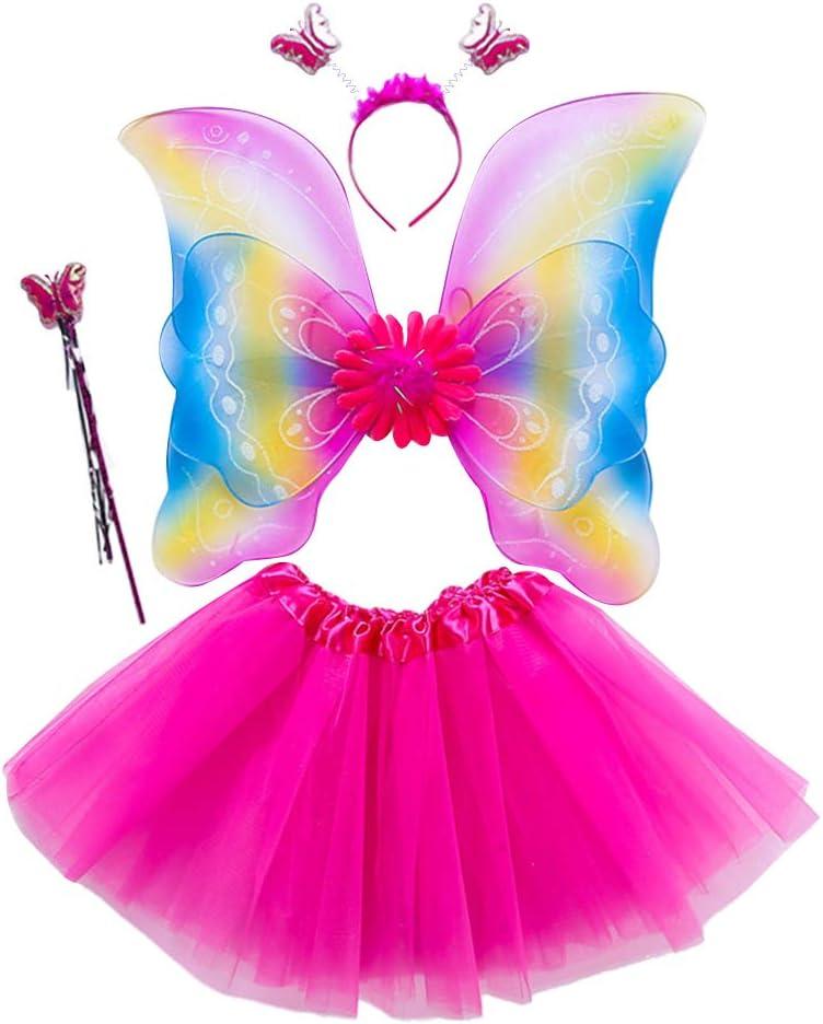 JERKKY Gonna Tutu 4 Pezzi//Set Set Costume da Fata per Ragazze Arcobaleno Ali Tre Strati Tulle Tutu Gonna Fascia Principessa Festa di Halloween 3-8 T Rosa