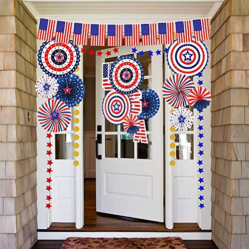 Red White and Blue Circle Garland Party Decoration Paper Dots Banner Patriotic