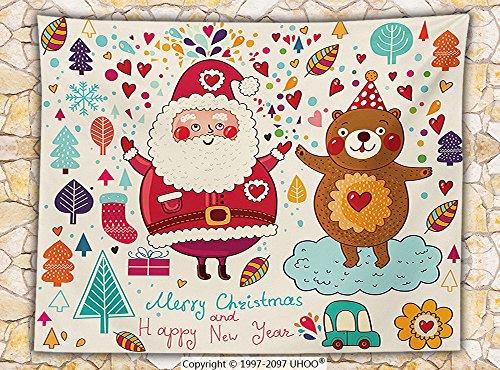 Christmas Decorations Fleece Throw Blanket Merry Santa and Teddy Bear Vintage Christmas Ornaments Party Kids Room Nursery Decor Throw Van Belle Nursery Christmas