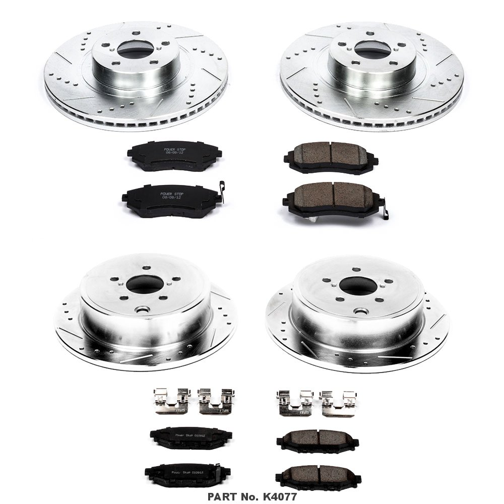 Power Stop K4077 Front and Rear Z23 Evolution Brake Kit with Drilled//Slotted Rotors and Ceramic Brake Pads