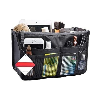 a basso prezzo 18c1d 0f2c3 KOBWA Portable Multi-Pocket Borsetta Organizer Borsa Inserto Antiscivolo  della, Donne da Viaggio cosmetico Tascabile, Nero, 28 * 18.5 * 8.5cm