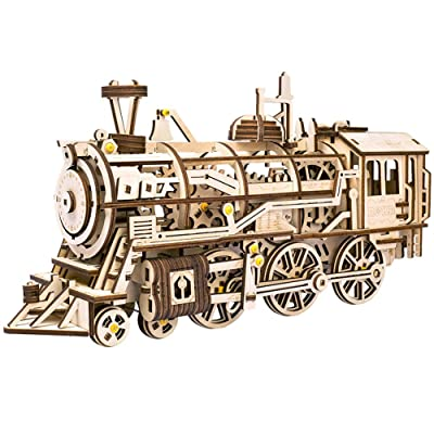 ROKR Locomotive Mechanical Wooden Gear 3D Puzzle Kit: Toys & Games