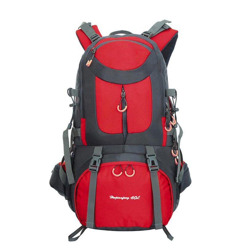 ZGJQ Outdoor-Bergsteigenbeutel der Männer und der Frauen wandernder kampierender Großer Kapazität der Tasche beiläufige Schulterbeutel 40L/50L/60L (Farbe : ROT60L)
