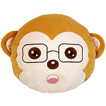 Monkey Round Cushion Pillow Stuffed Plush Soft Toy Chair Seat Awesome Monkey Covering Eyes Emoji Pillow
