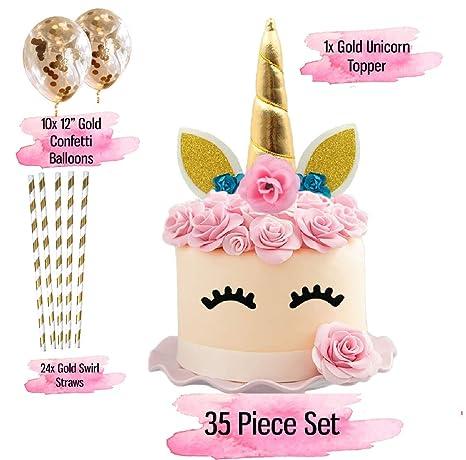 Adorno para tarta de unicornio con pestañas, paquete de 35 ...