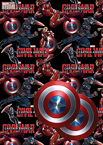 Avengers Civil War Wrapping Paper & Tags - 2 Gift Wrap Sheets & 2 -