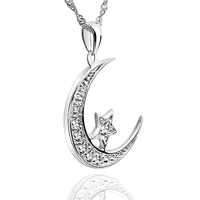 40% OFF GemsChest Sterling Silver Moon Star Pendant Necklace