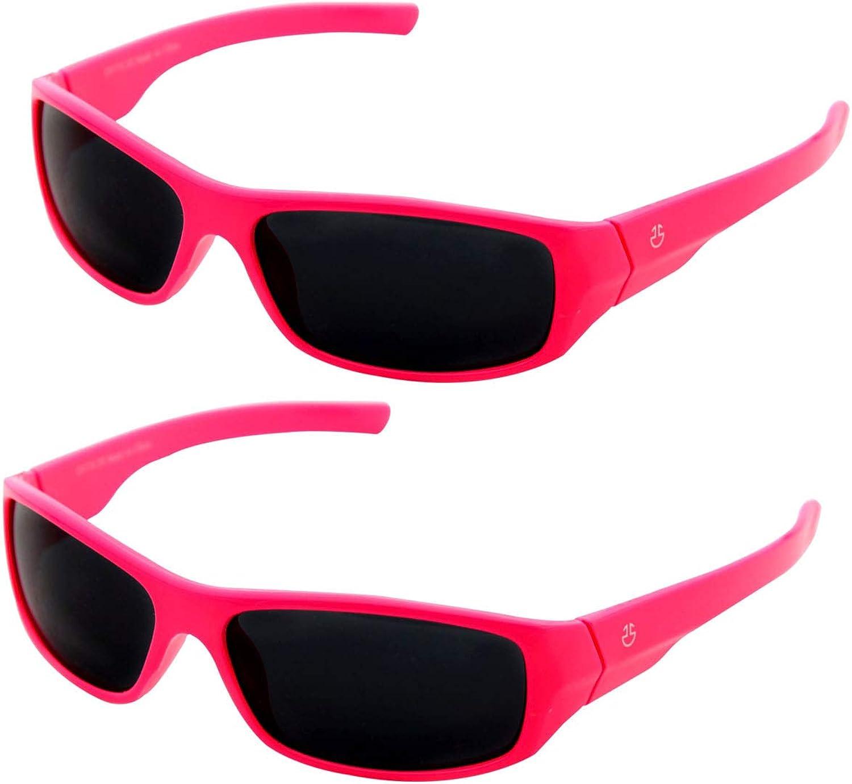 Non Polarized Smoked Lenses Kids Sunglasses Boys /& Girls Wrap Around Sports Sunglasses 2 pack