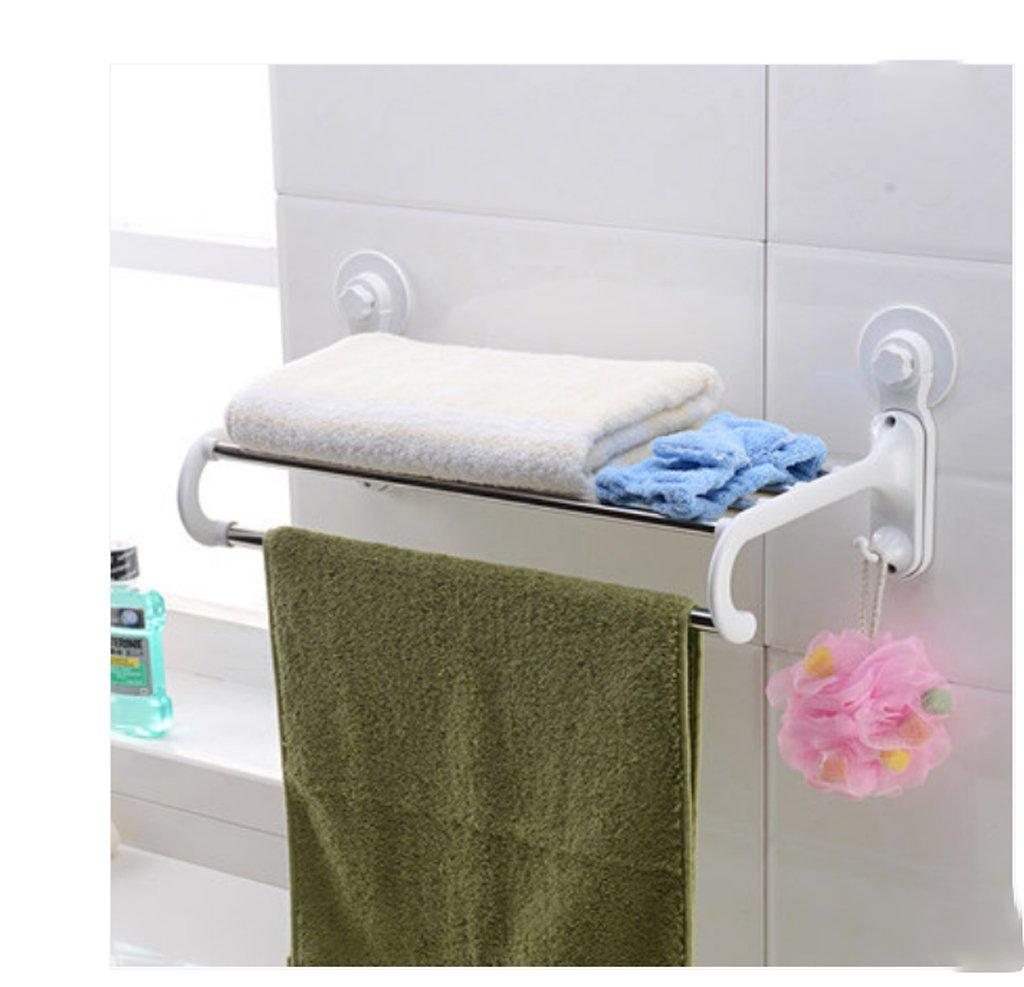 Hyun times Nail Free Strong sucker bathroom towel rack stainless steel double towel bar bathroom toilet wall shelving