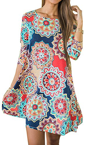 For G and PL Womens Swing Casual Floral Print 3/4 Sleeve Loose Pocket T Shirt Dress Multi-Color M