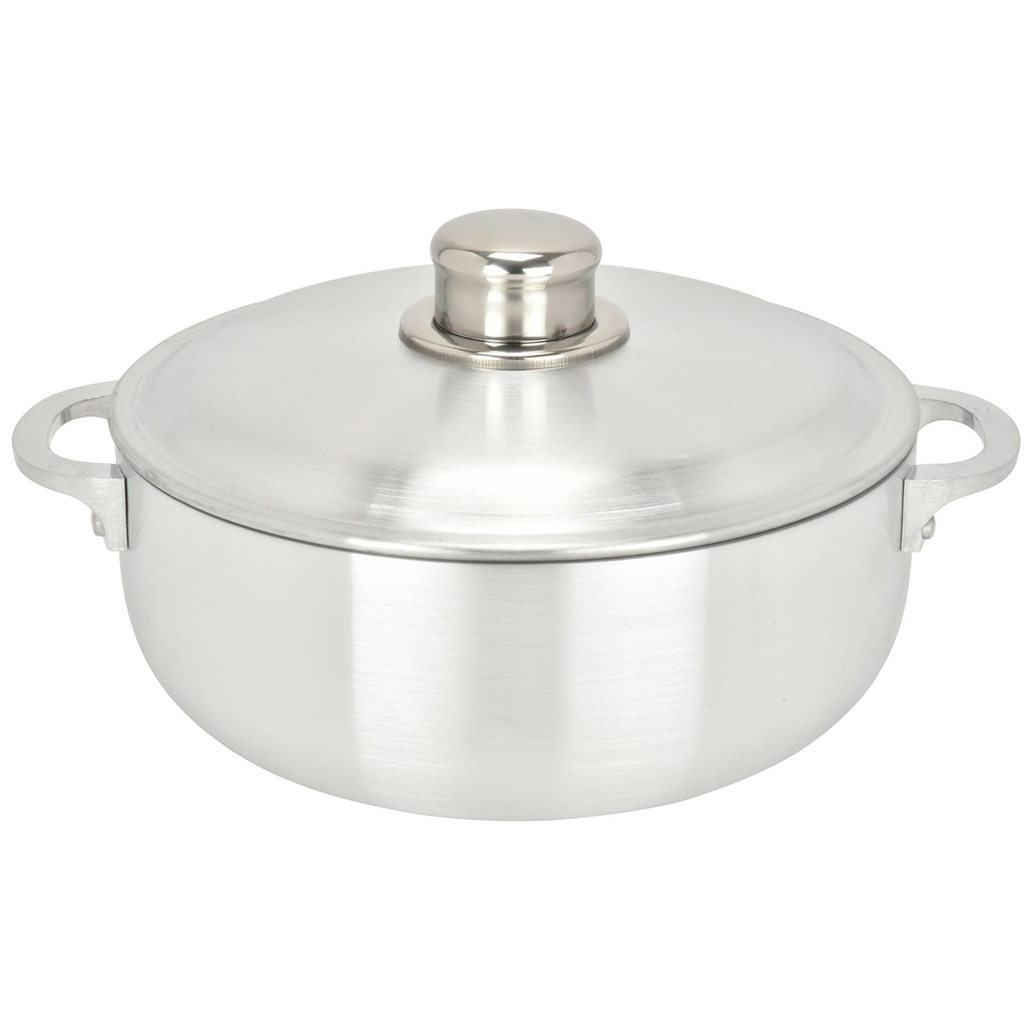 ALUMINUM CALDERO STOCK POT by Chef Pro, Aluminum, Superior Cooking Performance for Even Heat Distribution, Perfect For Serving Large and Small Groups, Riveted Handles, Commercial Grade (1.9 Quart)