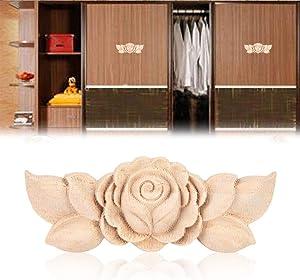 Wood Applique Vintage Style Carved Flower Corner Onlay for Home Door Cabinet Unpainted Furniture Decor 4Pcs (1#)