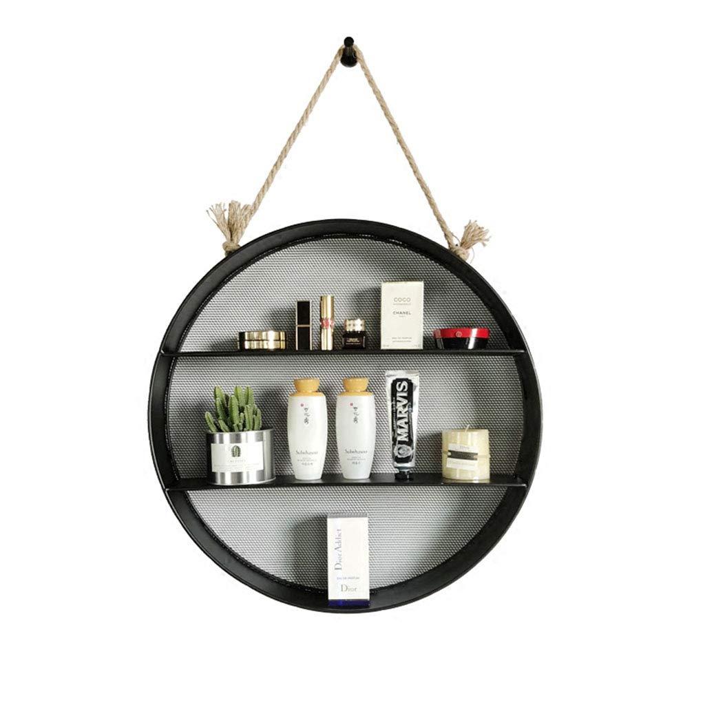 3-Tier Iron Shelf,Nordic Industrial Style Hemp Rope Wall-Mounted Shelf Rack Shelves Organizer Home Decoration for bar Books Plants Kitchen,55  80cm