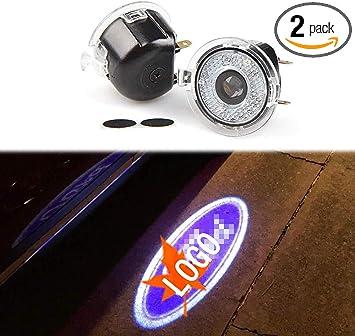 2pcs Car Led Door Projector Lights Welcome Lights Car Logo Courtesy Step Lamps
