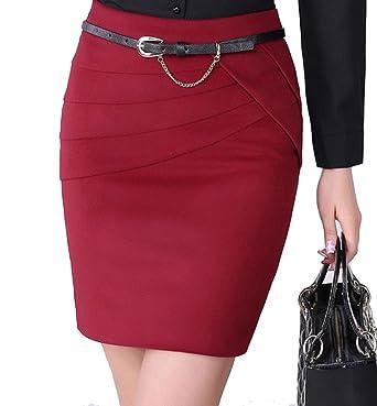 4fe753ade2f1 YGT Women's A Line Mini Skirt Office Wear Above Knee Pencil Skirt - Red -