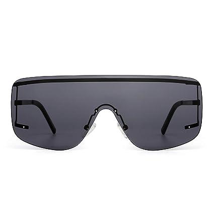 Oversized Shield Sunglasses Flat Top Gradient Lens Rimless Eyeglasses Women Men by Jim Halo