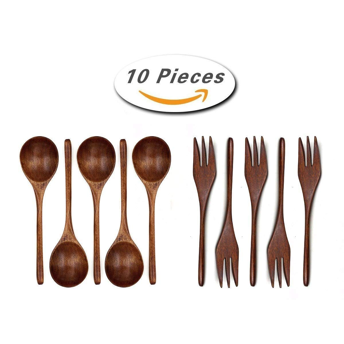 ADESUGATA 10 Pieces Wooden Spoon Fork Set,Natural Wooden Tableware Set Handmade Wooden Portable Long Handle Practical Spoon Forks Wood Tableware (Black)