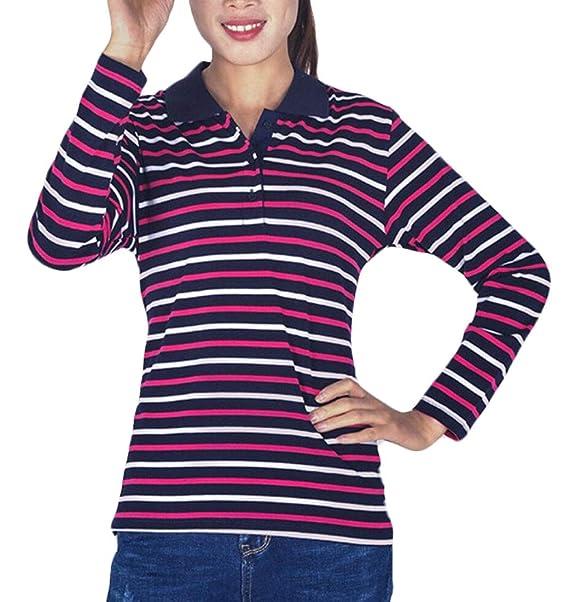 Keaac Women S Autumn Stripes Print Casual Lapel Long Sleeve