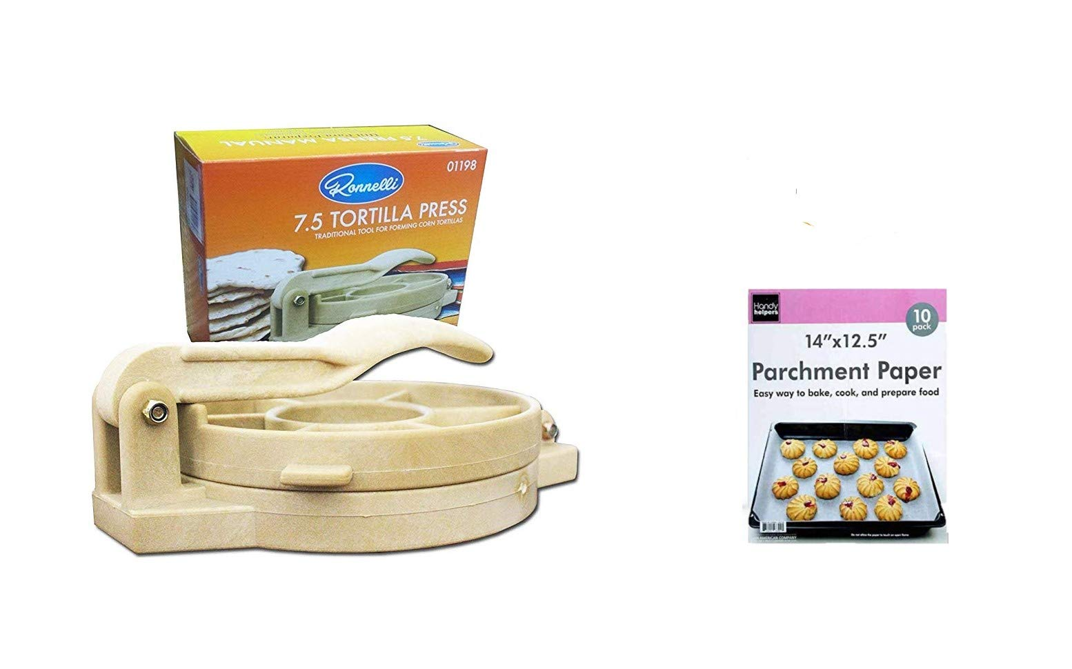 Tortilla Press for Wheat, Corn and Taco in Authentic Plastic is also a Roti, Chapati, Puri and Paratha Maker. by Fred