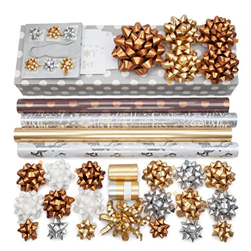 Gold + Silver + Copper Luxe Wrapping Paper Set: 4 Rolls (6 designs) of Premium Gift Wrap (75 sq. ft.) with 30 Coordinated Bows, 5 Ribbons, and 24 Gift Tags with Bonus Euro Tote and Tissue Paper by Modern Gift Design