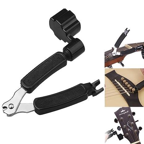 Waxun Cortador de cuerdas 3 en 1, herramienta de mantenimiento para guitarra eléctrica y acústica