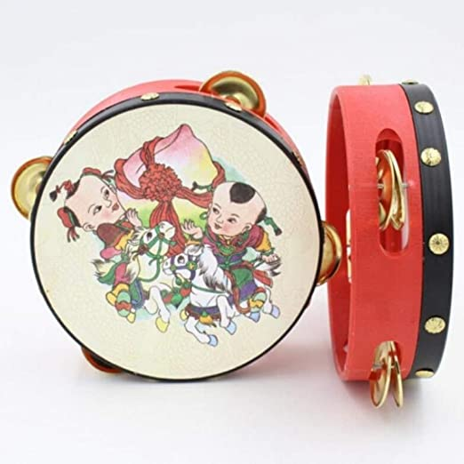 Color : Red-14cm Dance Performance Percussion Red Tambourine For Childrens Performances//Theatrical Tambourine