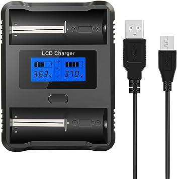 Snado RCR123 Caricabatteria universale LCD per batterie ricaricabili agli ioni di litio Ni-MH//Ni-Cd 18650 18500 18490 18350 17670 17500 16340 14500 A AA AAA AAA