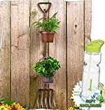 Gift Included- Flowers Herbal Garden Rustic Tool Pots Planters Shovel or Pitchfork Display + FREE Bonus Water Bottle byHomecricket (Pitchfork)